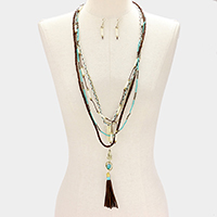 Buddha & Tassel 5-Layered Long Necklace