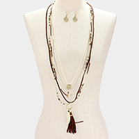 Leaf & Tassel 5-Layered Long Necklace