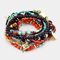 Multi Layered Strand Bead Stretch Bracelet