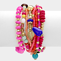 8PCS Multi Layered Strand Bead Bracelet