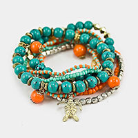 Multi Layered Strand Bead with Turtle Charm Stretch Bracelet