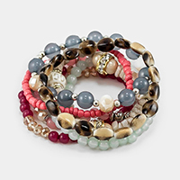 7PCS Multi Layered Strand Bead Bracelet