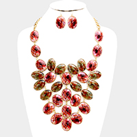 Oval Marbling Pattern Statement Necklace