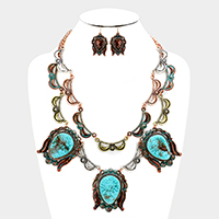 Metal with Turquoise Statement Necklace