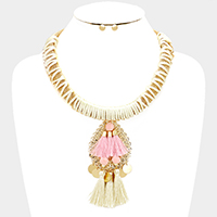 Thread on Mesh Chain with Tassel Necklace