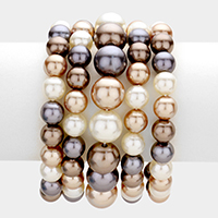 5PCS - Stackable Pearl Stretch Bracelets