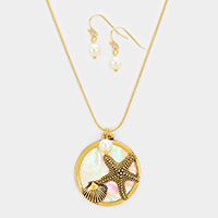 Starfish & Shell Charms in Round with Pearl Pendant Necklace