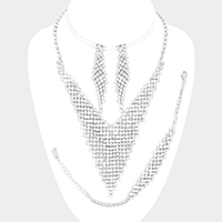 3PCS Crystal Rhinestone V-Collar Necklace Jewelry Set