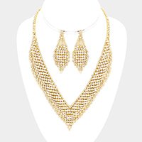 Crystal Rhinestone V-Collar Necklace