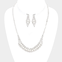 Crystal Rhinestone with Pearl Necklace