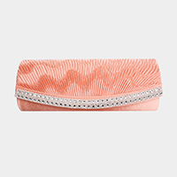 Lined with Crystal Stone Shoulder Clutch Evening Bag