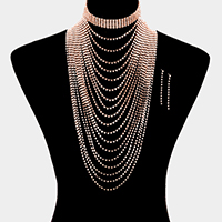 Cup Chain with Rhinestone Choker Necklace
