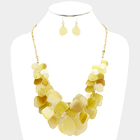Celluloid shell cluster necklace
