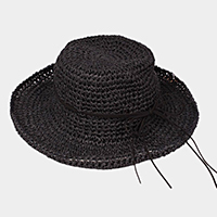 Flexible Sun Hat w/ Faux Suede Ribbon