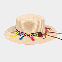 Rainbow tassel short brim sun hat with ribbon accent