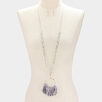 Bead with Fringe Thread Tassel Long Necklace