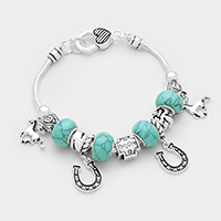 Horse and Horseshoe Charm with Turquoise Bracelet