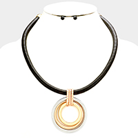 Triple hoop & snake chain necklace