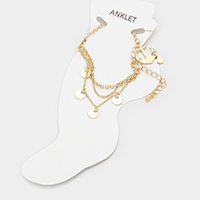 Disc & Anchor with Heart Charms Anklet