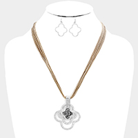 Cord Hammered Metal Clover with Stone Necklace