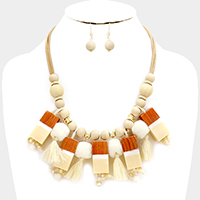 Wood Bead with Pom Pom & Tassel Statement Necklace