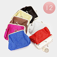 12 PCS - Glittered Coin Clasp Purses