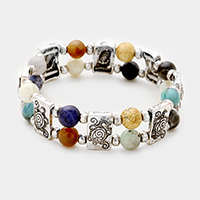 Semi Precious Stone with Turtle Metal Stretch Bracelet