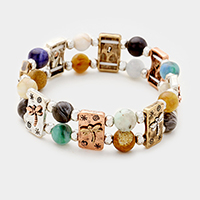 Semi Precious Stone with Dragonfly Metal Stretch Bracelet