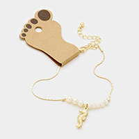 Sea Horse Anklet with Bead & Pearl Decor