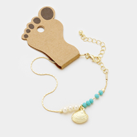 Shell Anklet with Bead & Pearl Decor