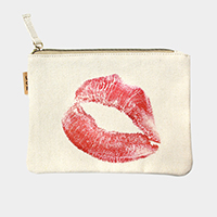 Lips_Cotton Canvas Eco Pouch Bag