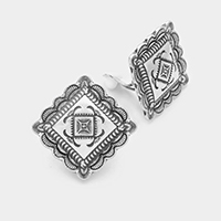 Patterned Metal Square Clip on Earrings