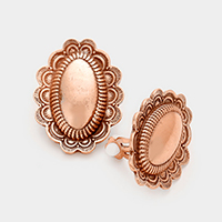 Patterned Metal Oval Clip on Earrings