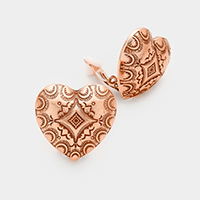 Patterned Metal Heart Clip on Earrings