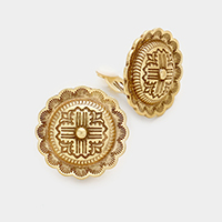 Patterned Metal Round Clip on Earrings