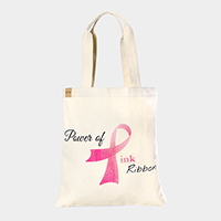 Power of Pink Ribbon _ Cotton Canvas Eco Shopper Bag