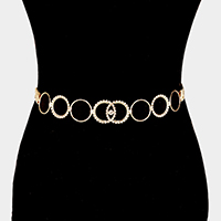 Round Shape with Rhinestone Link Chain Belt