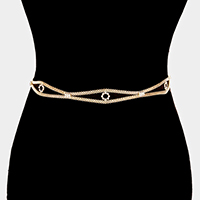 Evil Eye Shape with Rhinestone Popcorn Chain Belt