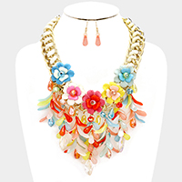 Braided Cord with Chain & Flower with Fringed Leaf Statement Necklace