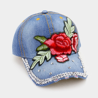 Bling Stone with Rose Patch Baseball Cap
