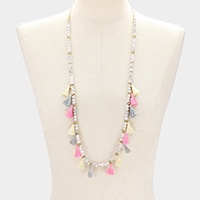 Beaded Tiny Ball with Tassel Long Necklace