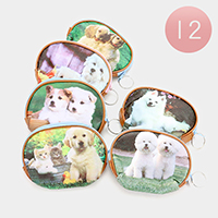 12 PCS - Printed Dogs Coin Zipper Purses