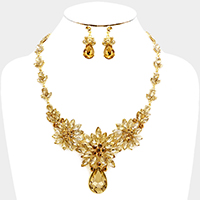 Floral Glass Crystal Evening Necklace