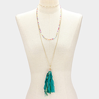 Fabric Tassel  Layered Choker Necklace