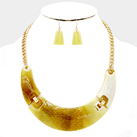 Celluloid crescent bar necklace