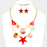Celluloid Statement Starfish, Coral & Shell Necklace