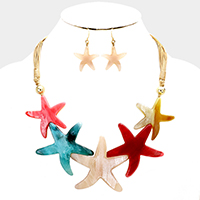 Celluloid Multi Starfish Necklace