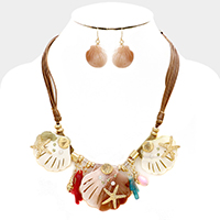 Celluloid Statement Starfish & Shell Necklace