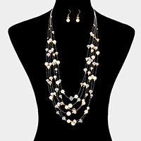 Multi Strand Pearl Long Necklace
