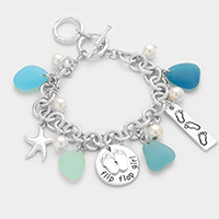 Sea Glass Sea Life Multi Charm Station Bracelet